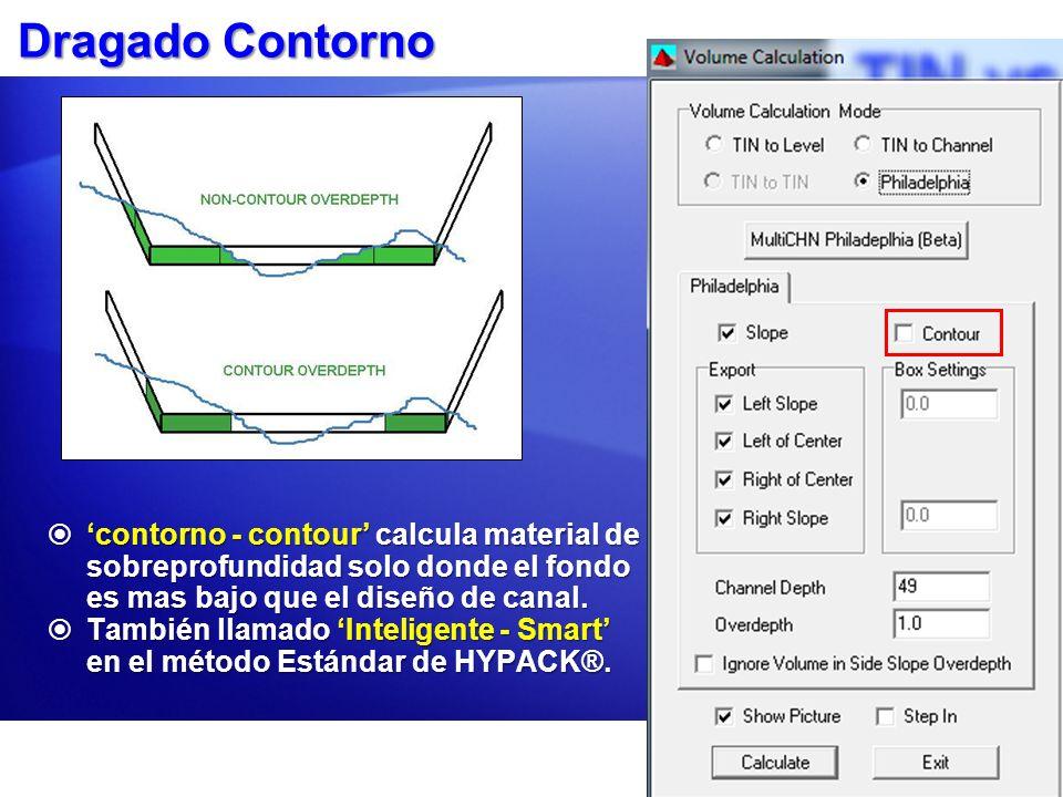 Dragado Contorno contorno - contour calcula material de sobreprofundidad solo donde el fondo es mas bajo que el diseño de canal. contorno - contour ca