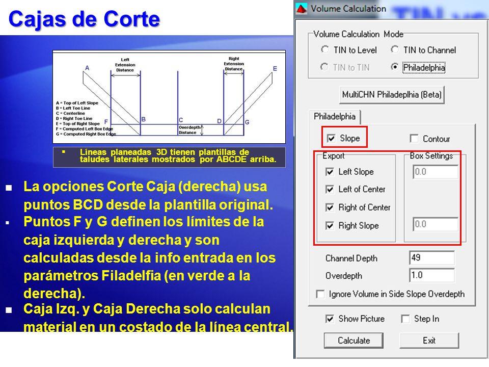 Cajas de Corte Líneas planeadas 3D tienen plantillas de taludes laterales mostrados por ABCDE arriba. Caja Izq. y Caja Derecha solo calculan material