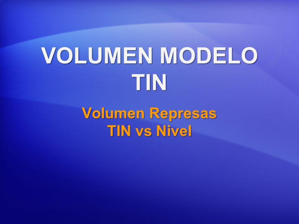 Calculando Volúmenes: para Represas en MODELO TIN Calcula volumen y área superficial sobre/debajo una serie de niveles de z.