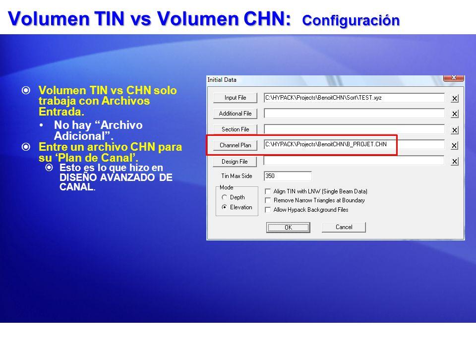 Volumen TIN vs Volumen CHN: Configuración Volumen TIN vs CHN solo trabaja con Archivos Entrada. No hay Archivo Adicional. Entre un archivo CHN para su
