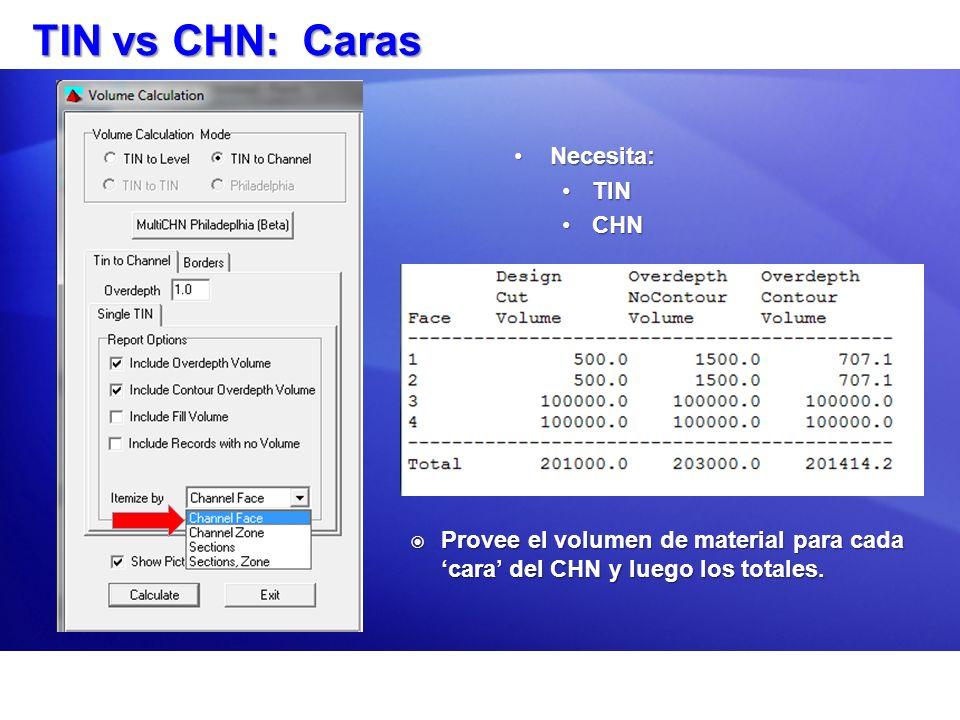 TIN vs CHN: Caras Necesita:Necesita: TINTIN CHNCHN Provee el volumen de material para cada cara del CHN y luego los totales. Provee el volumen de mate