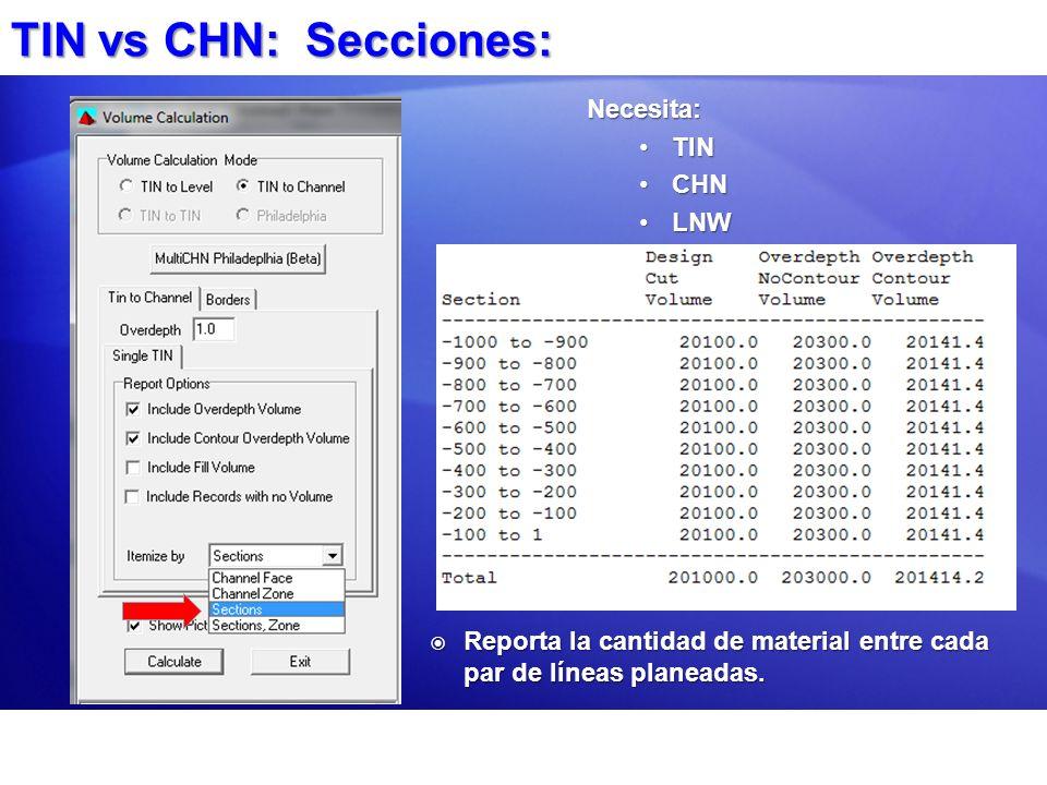 TIN vs CHN: Secciones: Necesita: TINTIN CHNCHN LNWLNW Reporta la cantidad de material entre cada par de líneas planeadas. Reporta la cantidad de mater