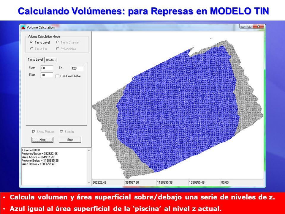 Calculando Volúmenes: para Represas en MODELO TIN Calcula volumen y área superficial sobre/debajo una serie de niveles de z. Azul igual al área superf