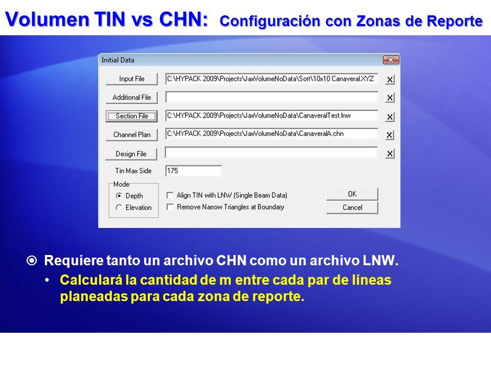 Volumen TIN vs CHN: Configuración con Zonas de Reporte Requiere tanto un archivo CHN como un archivo LNW. Calculará la cantidad de m entre cada par de