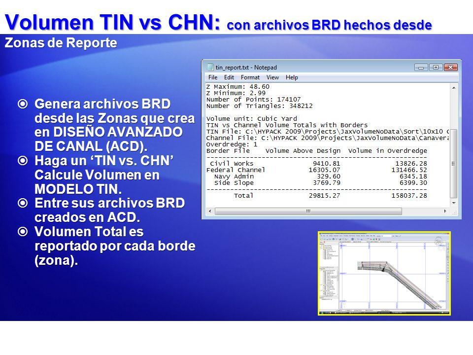 Volumen TIN vs CHN: con archivos BRD hechos desde Zonas de Reporte Genera archivos BRD desde las Zonas que crea en DISEÑO AVANZADO DE CANAL (ACD). Gen