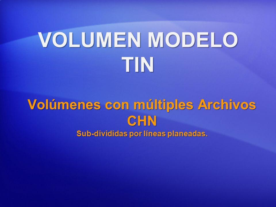 VOLUMEN MODELO TIN Volúmenes con múltiples Archivos CHN Sub-divididas por líneas planeadas.