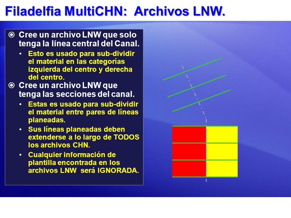Filadelfia MultiCHN: Archivos LNW. Cree un archivo LNW que solo tenga la línea central del Canal. Esto es usado para sub-dividir el material en las ca