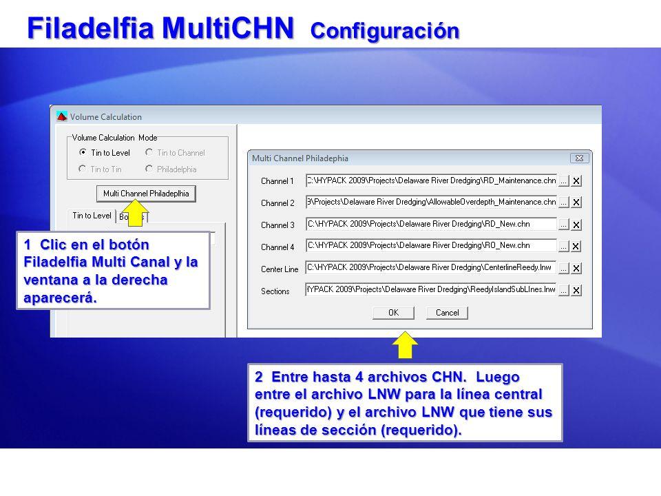 Filadelfia MultiCHN Configuración 1 Clic en el botón Filadelfia Multi Canal y la ventana a la derecha aparecerá. 2 Entre hasta 4 archivos CHN. Luego e