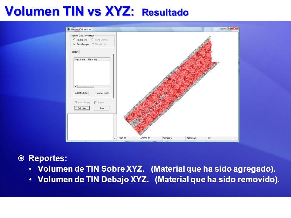 Volumen TIN vs XYZ: Resultado Reportes: Volumen de TIN Sobre XYZ. (Material que ha sido agregado). Volumen de TIN Debajo XYZ. (Material que ha sido re