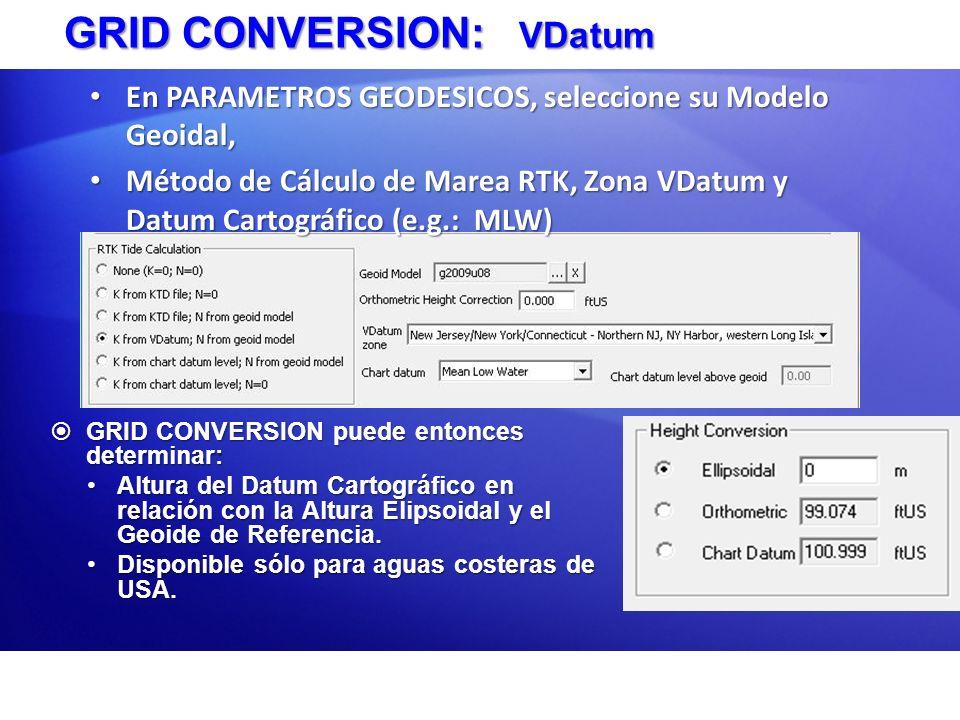 GRID CONVERSION: VDatum GRID CONVERSION puede entonces determinar: GRID CONVERSION puede entonces determinar: Altura del Datum Cartográfico en relació