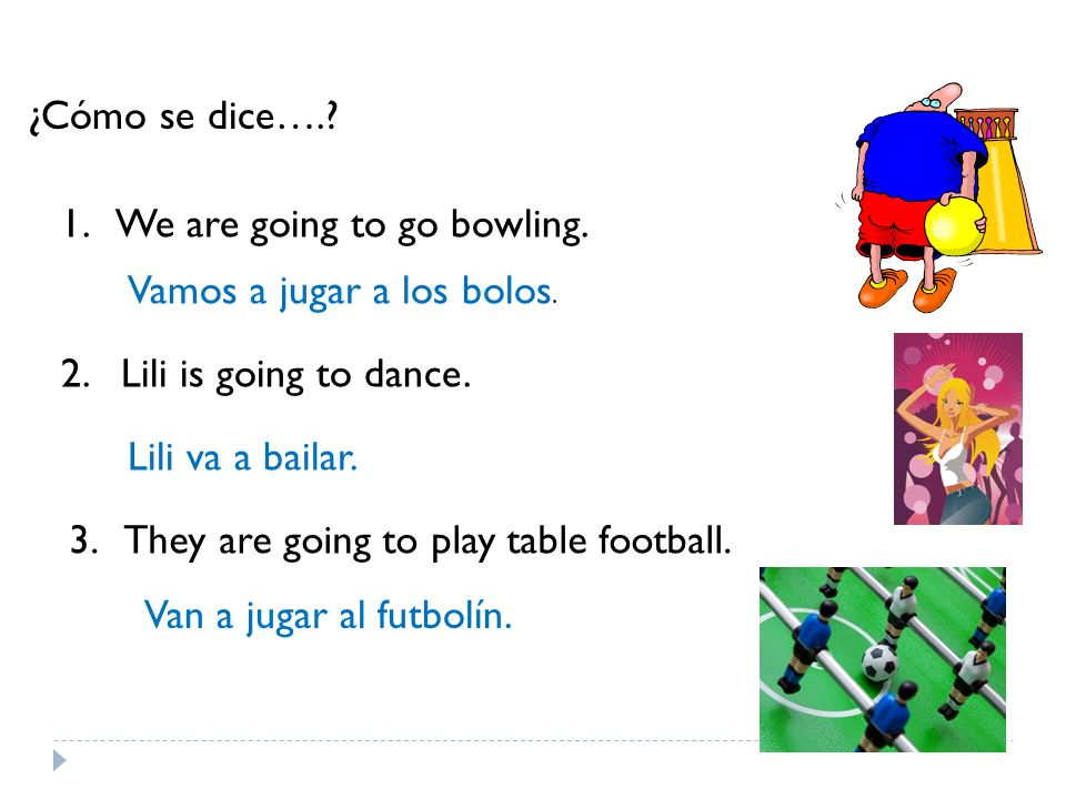 ¿Cómo se dice….? 1. We are going to go bowling. 2. Lili is going to dance. 3. They are going to play table football. Vamos a jugar a los bolos. Lili v