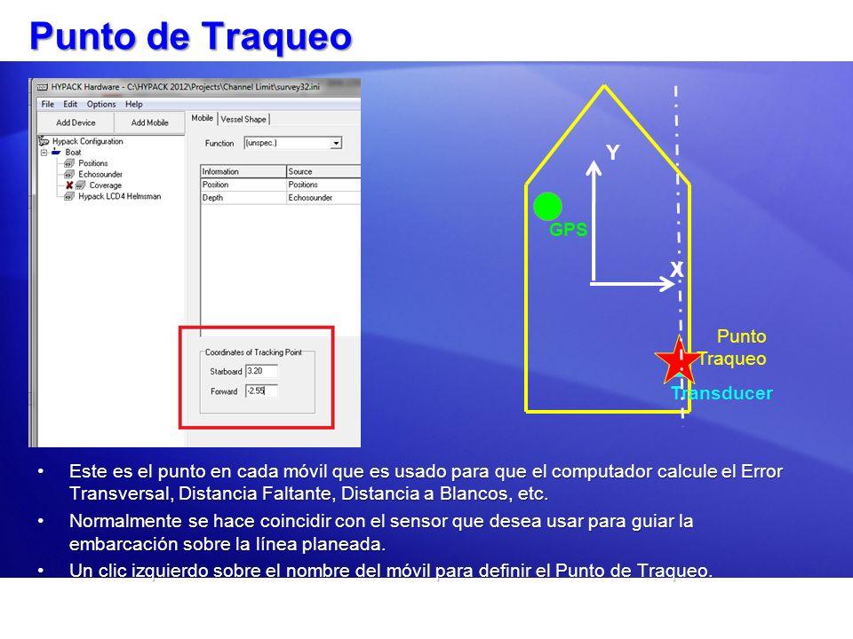 Punto de Traqueo Este es el punto en cada móvil que es usado para que el computador calcule el Error Transversal, Distancia Faltante, Distancia a Blan