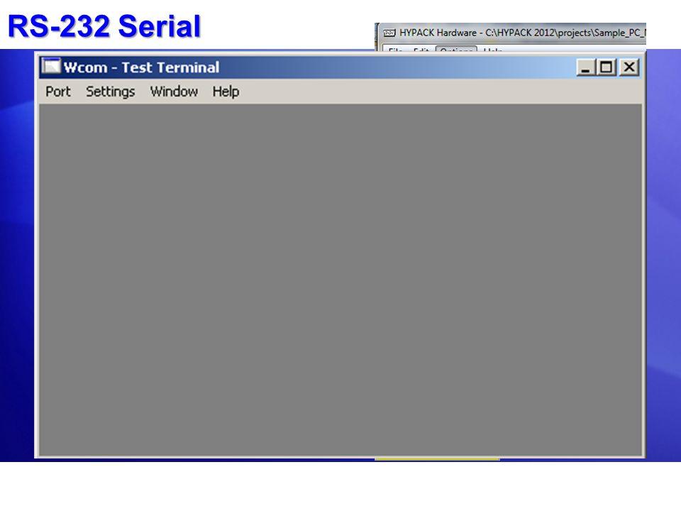 RS-232 Serial En HYPACK HARDWARE, haga clic en Options – Com – Query para ver que puertos seriales son reconocidos por Windows.En HYPACK HARDWARE, hag