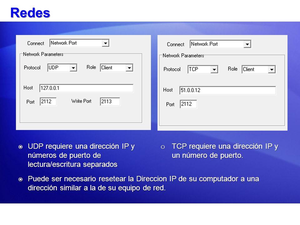 Redes o TCP requiere una dirección IP y un número de puerto. UDP requiere una dirección IP y números de puerto de lectura/escritura separados UDP requ