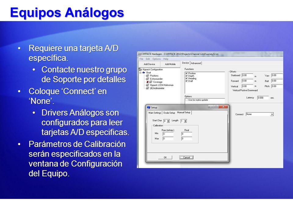 Equipos Análogos Requiere una tarjeta A/D específica.Requiere una tarjeta A/D específica. Contacte nuestro grupo de Soporte por detallesContacte nuest