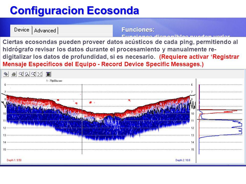 Configuracion Ecosonda Funciones: Funciones disponibles pueden variar, dependiendo de la ecosonda. Como mínimo debe seleccionar Depth Funciones dispon