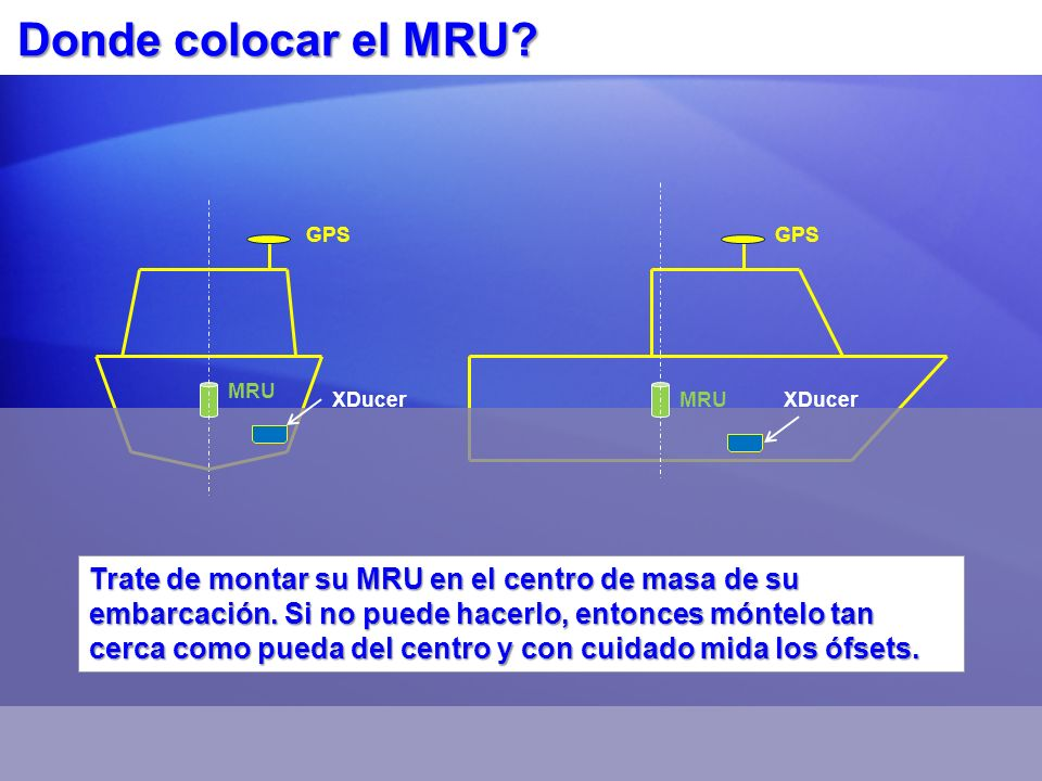 Donde colocar el MRU? Trate de montar su MRU en el centro de masa de su embarcación. Si no puede hacerlo, entonces móntelo tan cerca como pueda del ce