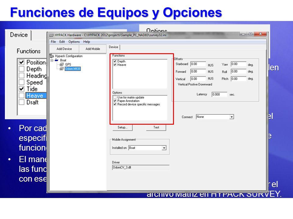 Funciones de Equipos y Opciones Por cada equipo, debe especificar su función o funciones.Por cada equipo, debe especificar su función o funciones. El