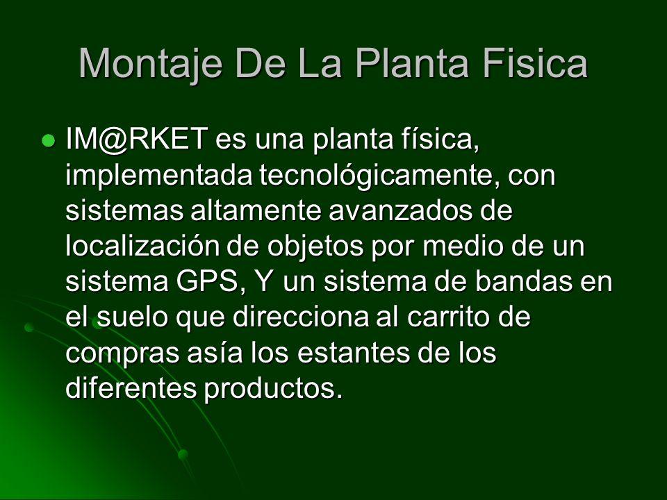 Montaje De La Planta Fisica IM@RKET es una planta física, implementada tecnológicamente, con sistemas altamente avanzados de localización de objetos por medio de un sistema GPS, Y un sistema de bandas en el suelo que direcciona al carrito de compras asía los estantes de los diferentes productos.