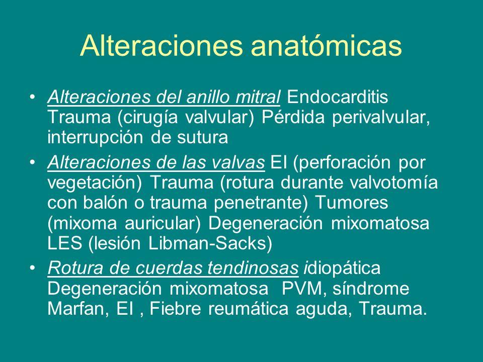 Alteraciones del anillo mitral Endocarditis Trauma (cirugía valvular) Pérdida perivalvular, interrupción de sutura Alteraciones de las valvas EI (perf