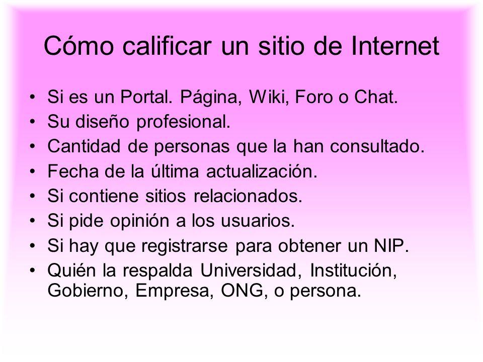 Cómo calificar un sitio de Internet Si es un Portal. Página, Wiki, Foro o Chat. Su diseño profesional. Cantidad de personas que la han consultado. Fec