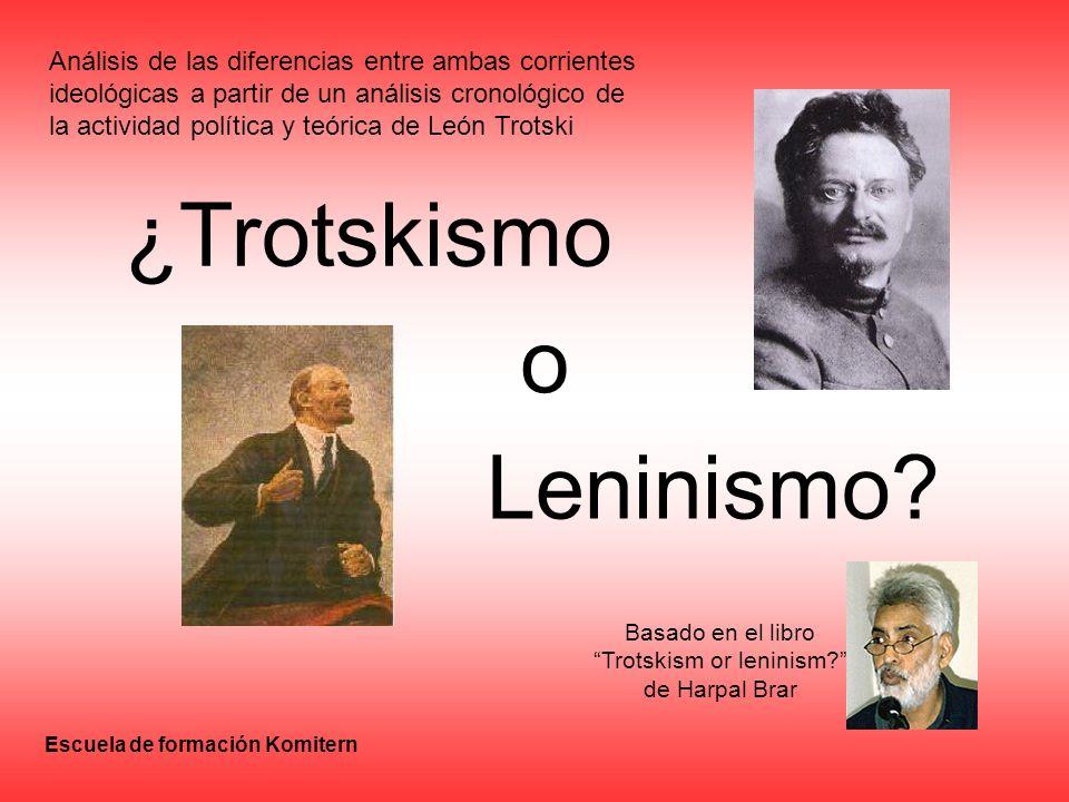 ¿Trotskismo o Leninismo? Basado en el libro Trotskism or leninism? de Harpal Brar Análisis de las diferencias entre ambas corrientes ideológicas a par