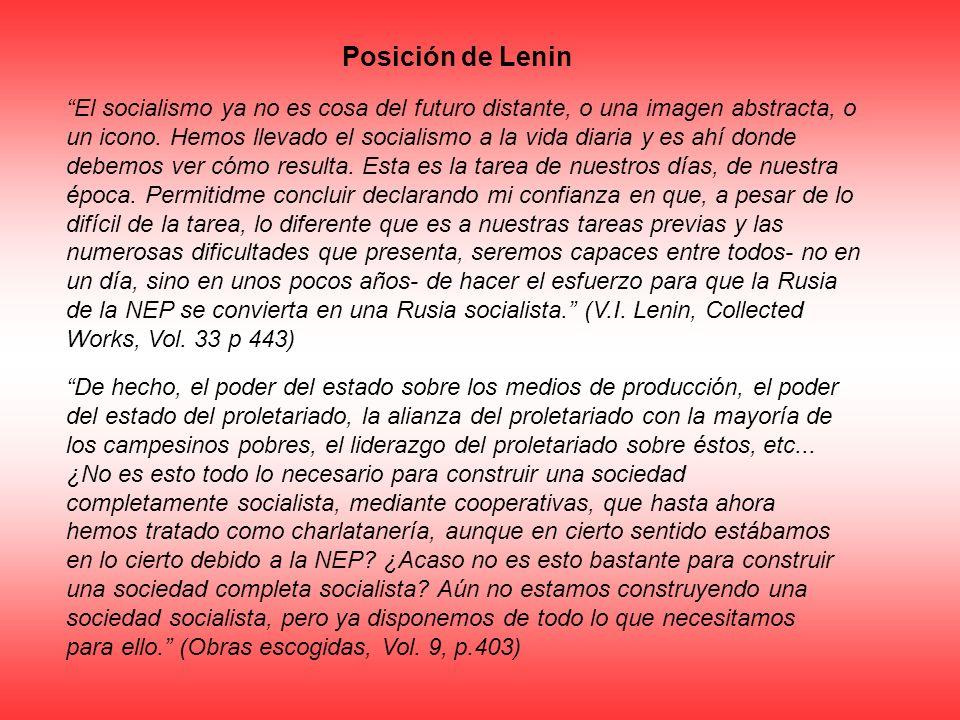 Posición de Lenin El socialismo ya no es cosa del futuro distante, o una imagen abstracta, o un icono. Hemos llevado el socialismo a la vida diaria y