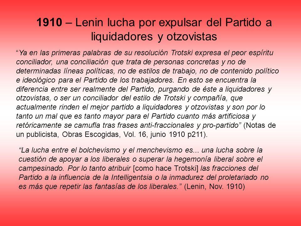 1910 – Lenin lucha por expulsar del Partido a liquidadores y otzovistas Ya en las primeras palabras de su resolución Trotski expresa el peor espíritu
