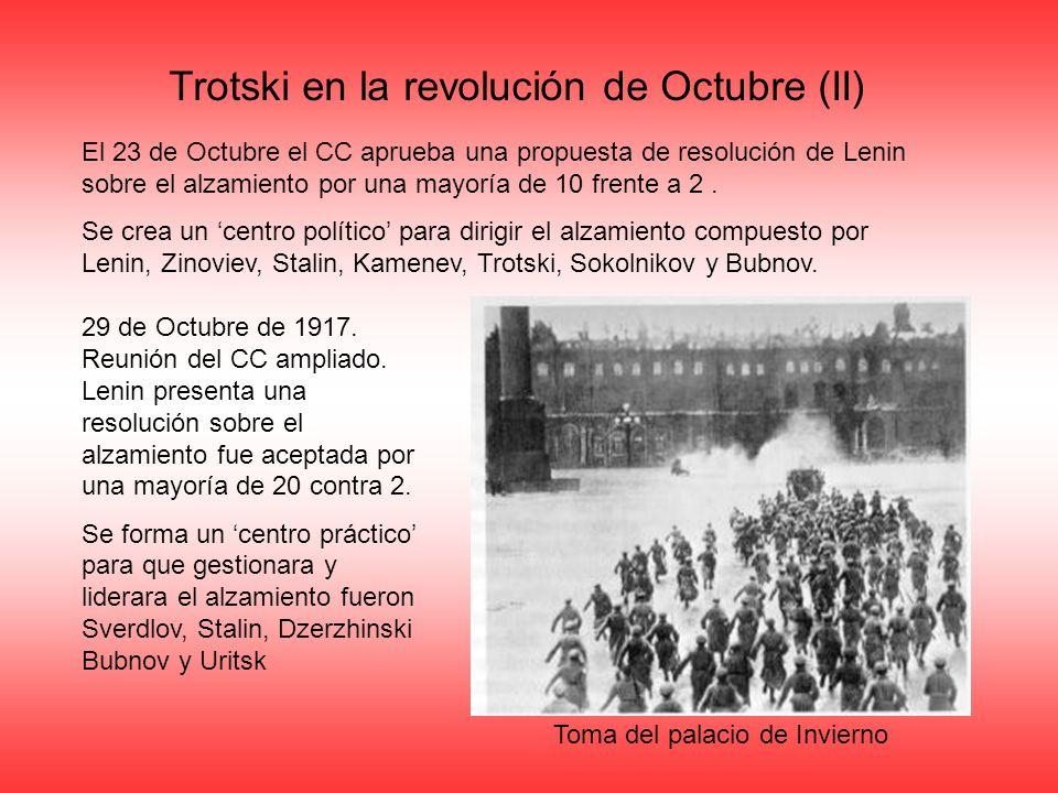 Trotski en la revolución de Octubre (II) El 23 de Octubre el CC aprueba una propuesta de resolución de Lenin sobre el alzamiento por una mayoría de 10