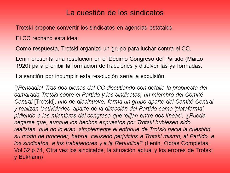 ¡Pensadlo! Tras dos plenos del CC discutiendo con detalle la propuesta del camarada Trotski sobre el Partido y los sindicatos, un miembro del Comité C