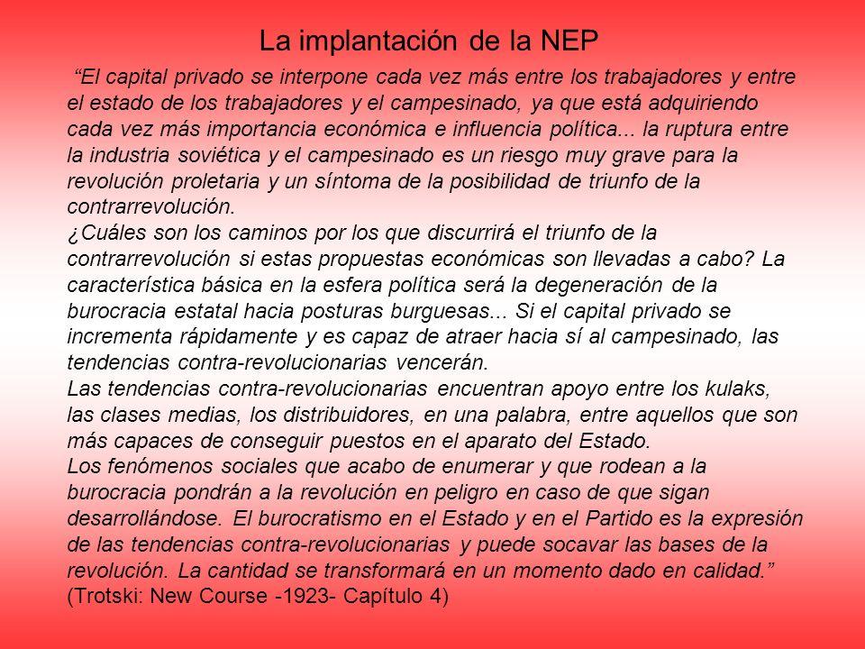 La implantación de la NEP El capital privado se interpone cada vez más entre los trabajadores y entre el estado de los trabajadores y el campesinado,