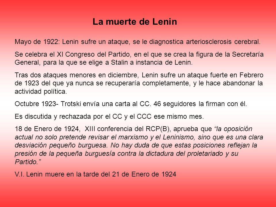 La muerte de Lenin Mayo de 1922: Lenin sufre un ataque, se le diagnostica arteriosclerosis cerebral. Se celebra el XI Congreso del Partido, en el que