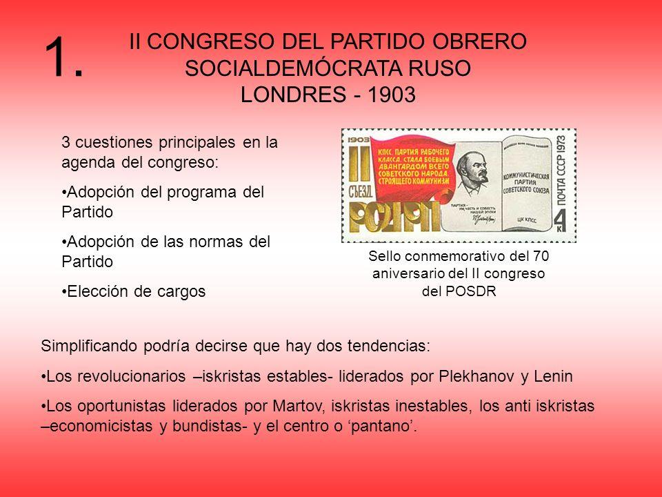 II CONGRESO DEL PARTIDO OBRERO SOCIALDEMÓCRATA RUSO LONDRES - 1903 3 cuestiones principales en la agenda del congreso: Adopción del programa del Parti