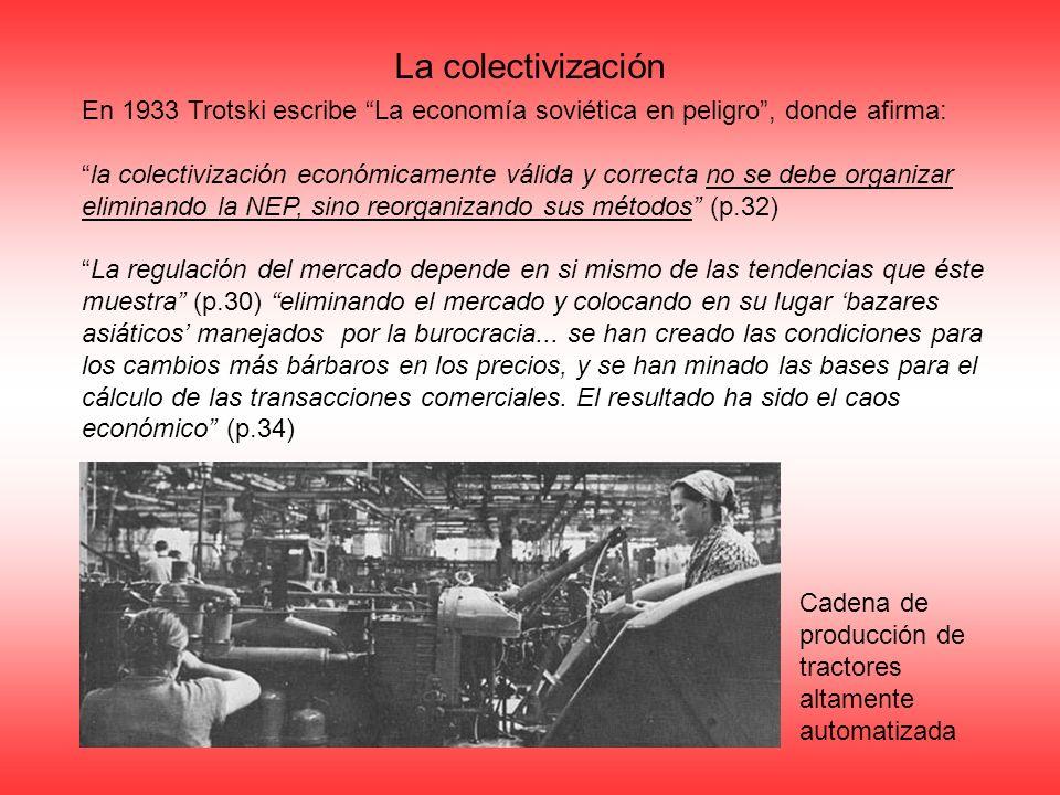 La colectivización En 1933 Trotski escribe La economía soviética en peligro, donde afirma: la colectivización económicamente válida y correcta no se d