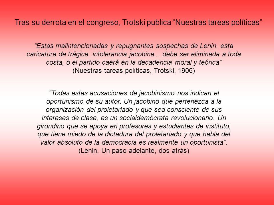 Tras su derrota en el congreso, Trotski publica Nuestras tareas políticas Estas malintencionadas y repugnantes sospechas de Lenin, esta caricatura de