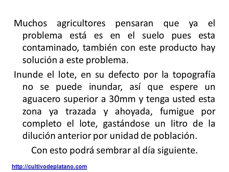 Muchos agricultores pensaran que ya el problema está es en el suelo pues esta contaminado, también con este producto hay solución a este problema. Inu