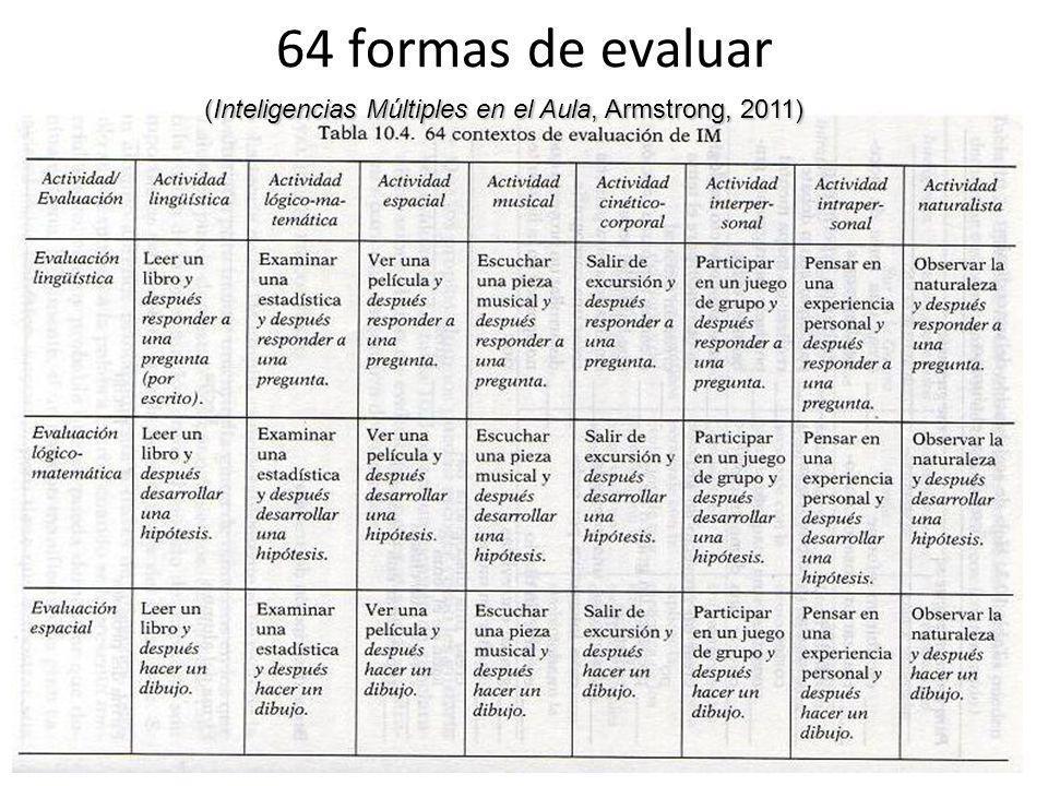 64 formas de evaluar (Inteligencias Múltiples en el Aula, Armstrong, 2011)