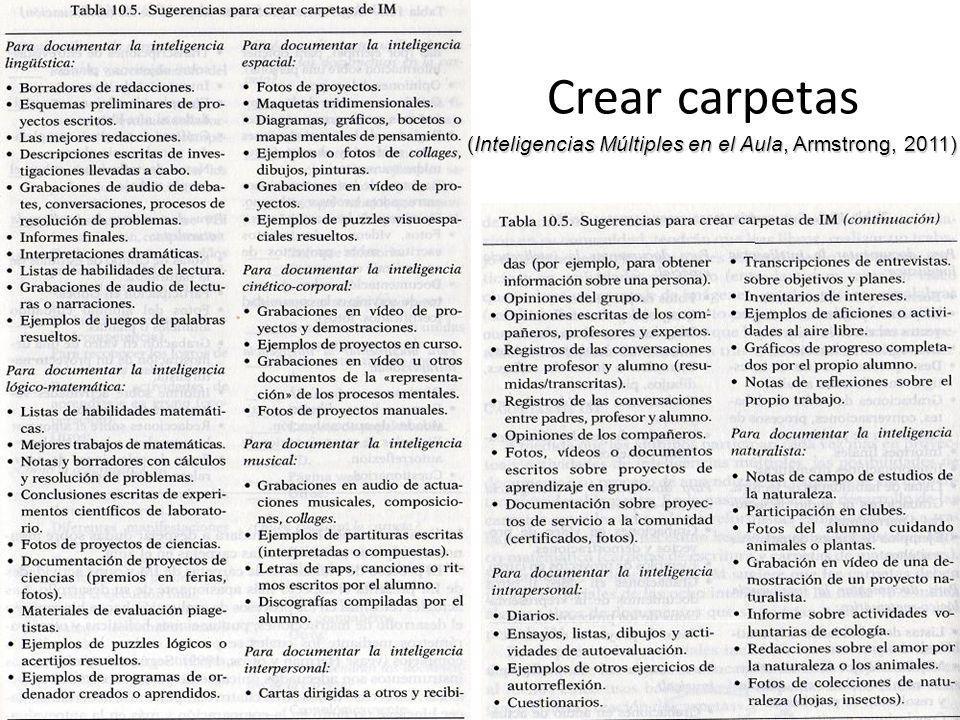 Crear carpetas (Inteligencias Múltiples en el Aula, Armstrong, 2011)