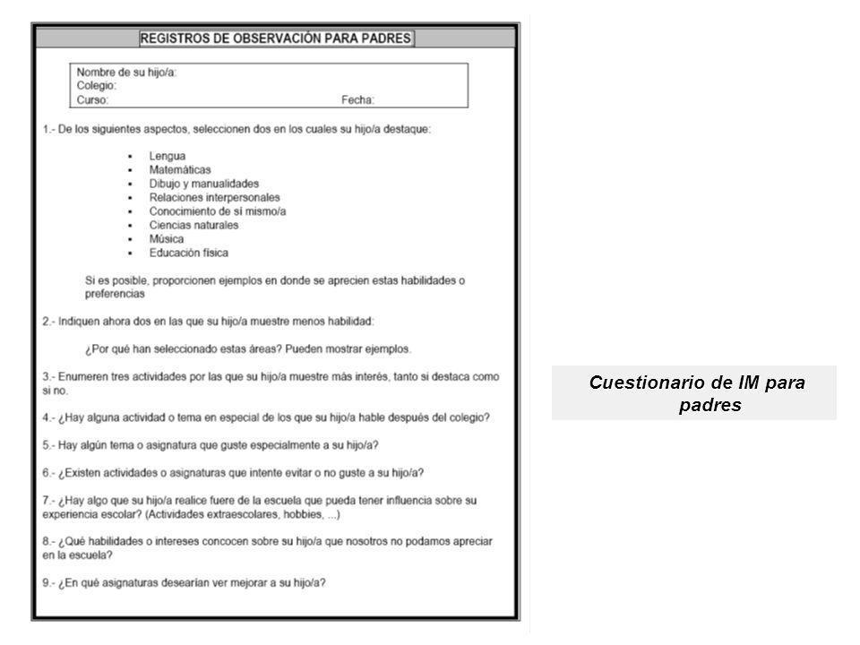 Cuestionario de IM para padres Cuestionario de IM para padres