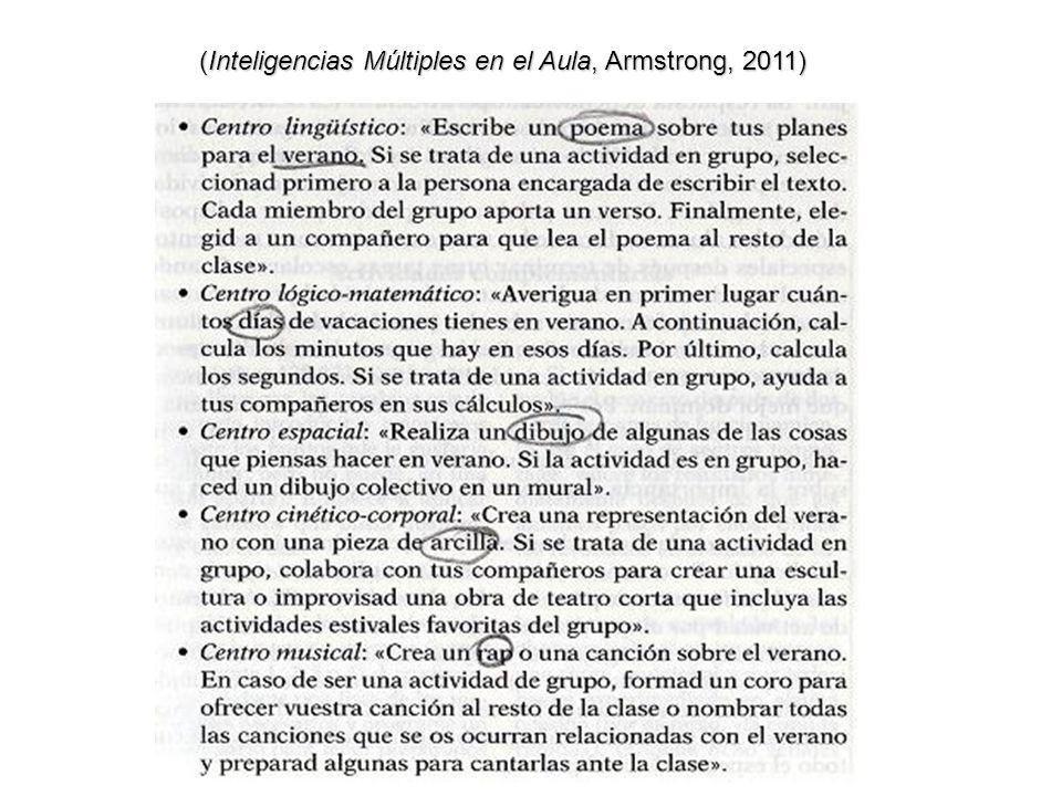 (Inteligencias Múltiples en el Aula, Armstrong, 2011)