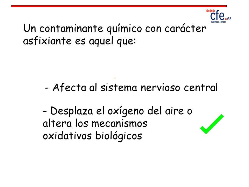 Un contaminante químico con carácter asfixiante es aquel que: - Afecta al sistema nervioso central - Desplaza el oxígeno del aire o altera los mecanis