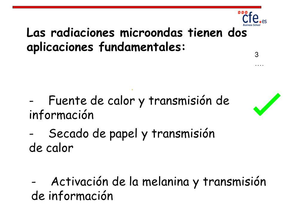 Las radiaciones microondas tienen dos aplicaciones fundamentales: - Fuente de calor y transmisión de información - Secado de papel y transmisión de ca