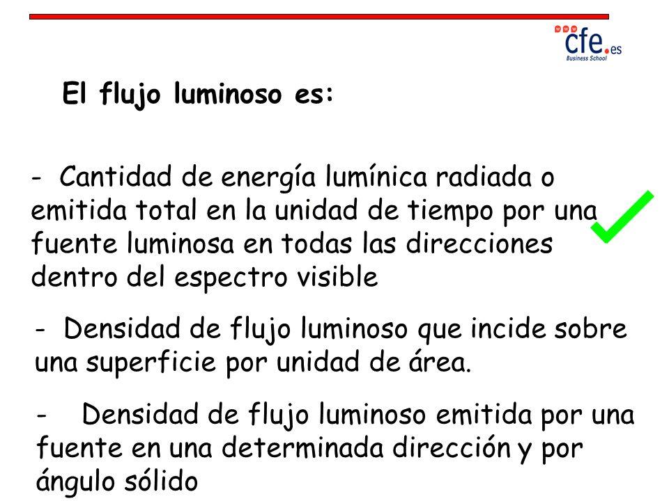 El flujo luminoso es: - Cantidad de energía lumínica radiada o emitida total en la unidad de tiempo por una fuente luminosa en todas las direcciones d
