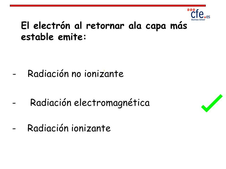 El electrón al retornar ala capa más estable emite: - Radiación no ionizante - Radiación electromagnética - Radiación ionizante