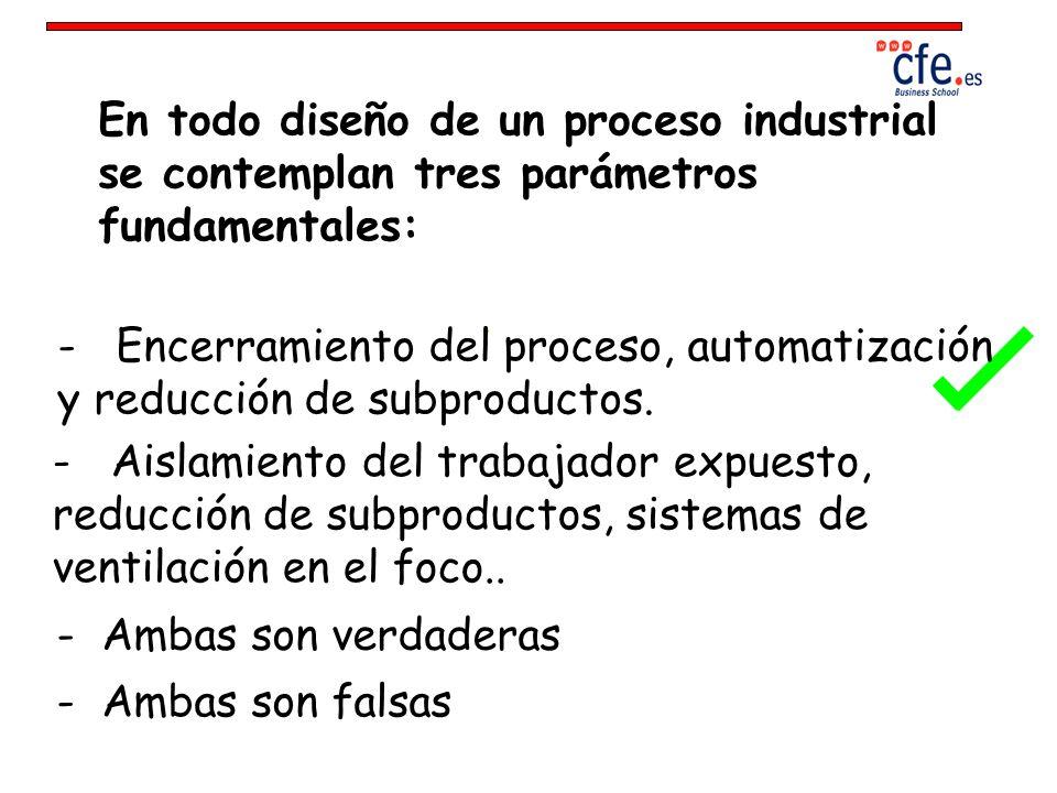 En todo diseño de un proceso industrial se contemplan tres parámetros fundamentales: - Encerramiento del proceso, automatización y reducción de subpro