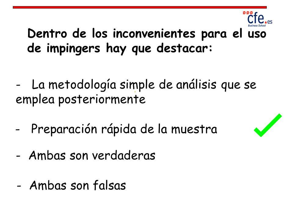 Dentro de los inconvenientes para el uso de impingers hay que destacar: - La metodología simple de análisis que se emplea posteriormente - Preparación
