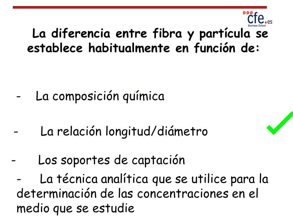La diferencia entre fibra y partícula se establece habitualmente en función de: - La composición química - La relación longitud/diámetro - Los soporte