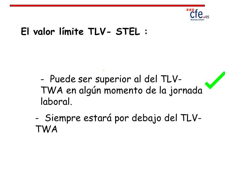 El valor límite TLV- STEL : - Puede ser superior al del TLV- TWA en algún momento de la jornada laboral. - Siempre estará por debajo del TLV- TWA
