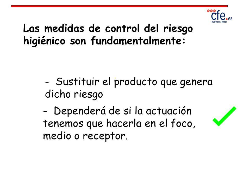 Las medidas de control del riesgo higiénico son fundamentalmente: - Sustituir el producto que genera dicho riesgo - Dependerá de si la actuación tenem