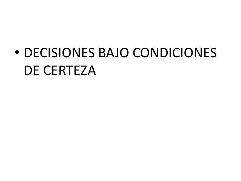 DECISIONES BAJO CONDICIONES DE CERTEZA